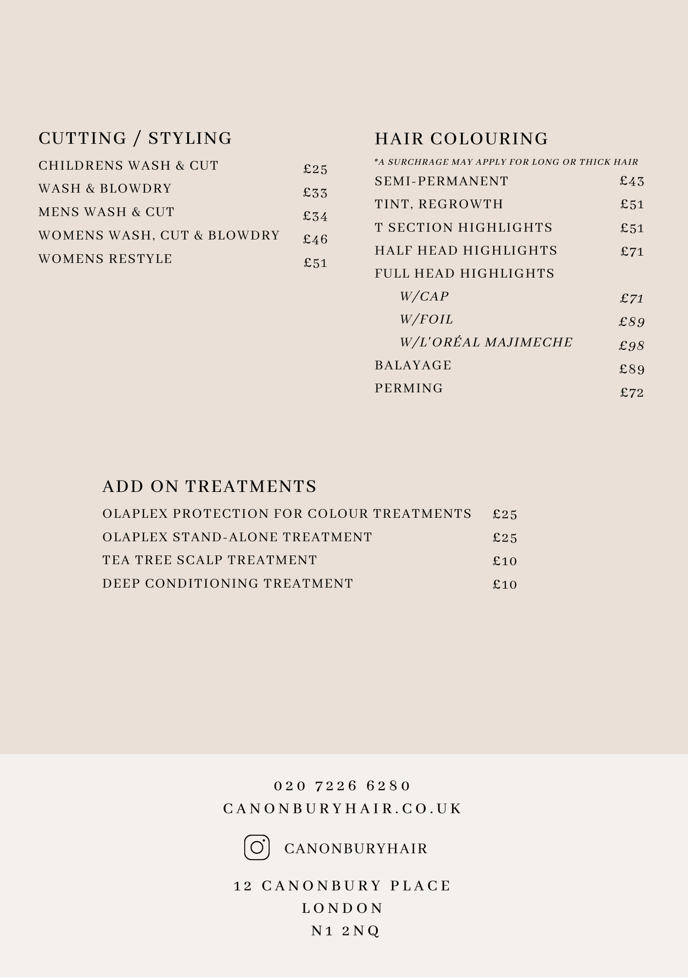 Second page price list